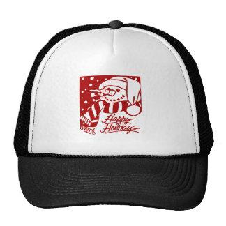 Happy Holidays Snowman Mesh Hats