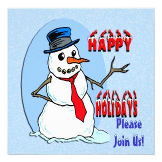 Happy Holidays Snowman Invitation