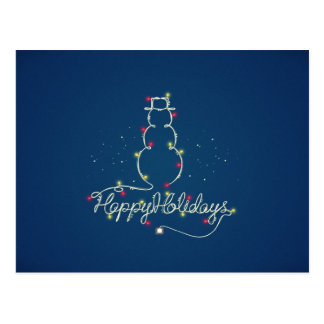 Happy Holidays & Snowman Lights Postcard