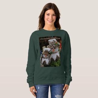 Happy Holidays Snowman Print Green Sweatshirt