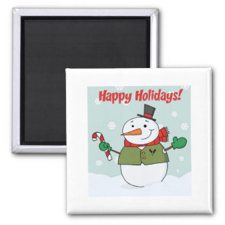 Happy Holidays Snowman Square Magnet