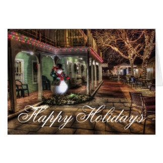 Happy Holidays Snowman Urban Lights Christmas Card