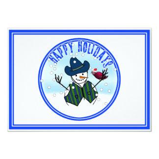 "Happy Holidays -  Snowman Wearing Cowboy Hats 4.5"" X 6.25"" Invitation Card"