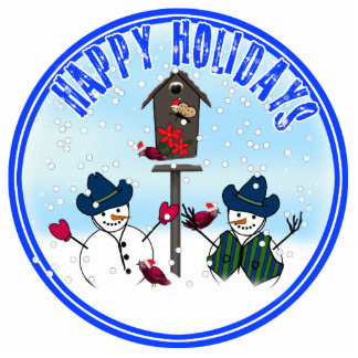 Happy Holidays - Snowmen with Cowboy Hats Cut Outs