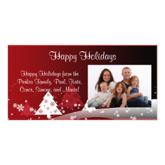 Happy Holidays Snowy Trees - Red Picture Card
