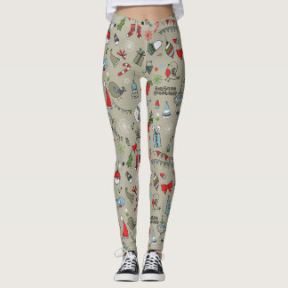 Happy Holidays Song Birds And Snowman Leggings