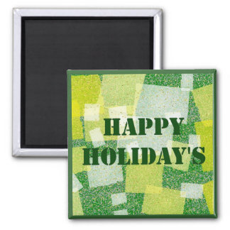 Happy Holiday's Square Magnet