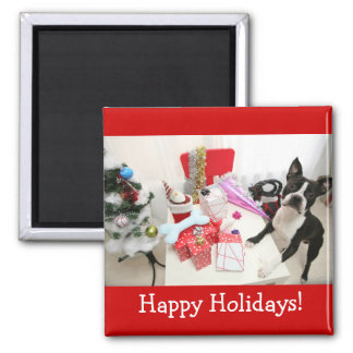Happy Holidays! Square Magnet