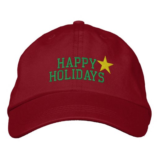 Happy Holidays Star Embroidered Hat