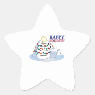 Happy Holidays Star Stickers