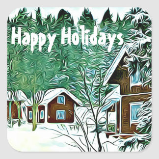 Happy Holidays stickers vintage winter landscape