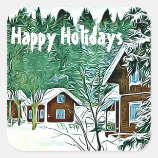 Happy Holidays stickers vintage winter landscape