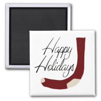 Happy Holidays Stocking Square Magnet