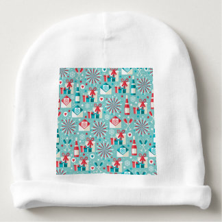 Happy Holidays Teal Blue and Red Pattern Baby Beanie