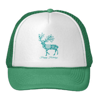 Happy holidays, teal deer with snowflakes ornament hat