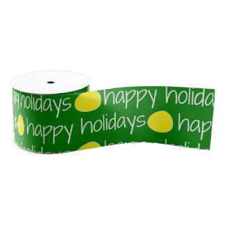 Happy Holidays Tennis Themed Ribbon Grosgrain Ribbon