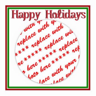 Happy Holidays Text Design Photo Frame Standing Photo Sculpture