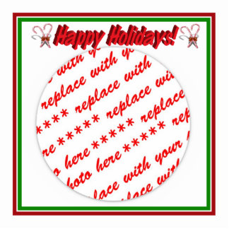 Happy Holidays Text Design with Candy Canes Standing Photo Sculpture