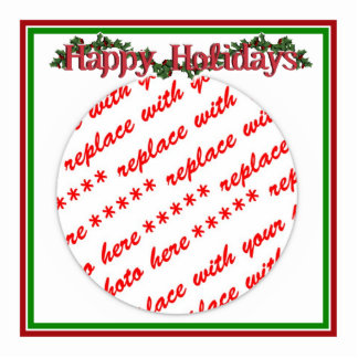 Happy Holidays Text Design with Holly Photo Cutout