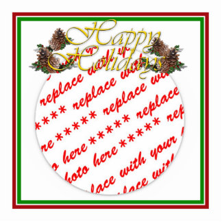 Happy Holidays Text Design with Pine Cones Standing Photo Sculpture