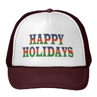 HAPPY HOLIDAYS TEXT HappyHOLIDAYS lowprice GIFTS Mesh Hats