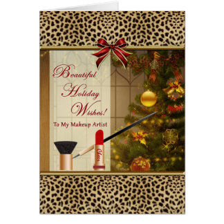Happy Holidays To Makeup Artist Leopard Card