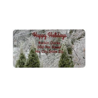 Happy Holidays Tranquil Icy Branches Address Label