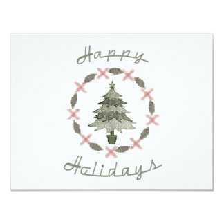 Happy Holidays Tree 11 Cm X 14 Cm Invitation Card