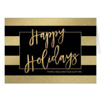 Happy Holidays Trendy Gold Stripes Hand-Script Card