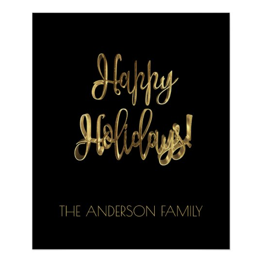 Happy Holidays Typography Black and Gold Look Chic Poster
