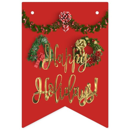 Happy Holidays Typography Christmas Wreath Bunting Bunting