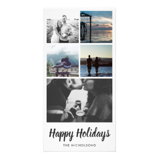 Happy Holidays Typography Five Photo Collage Card