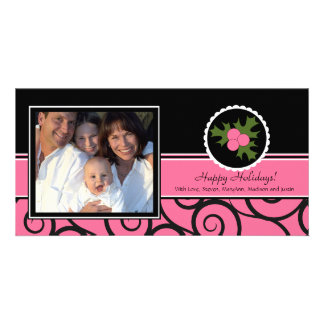 Happy Holidays Unique Pink & Black Holly Customized Photo Card