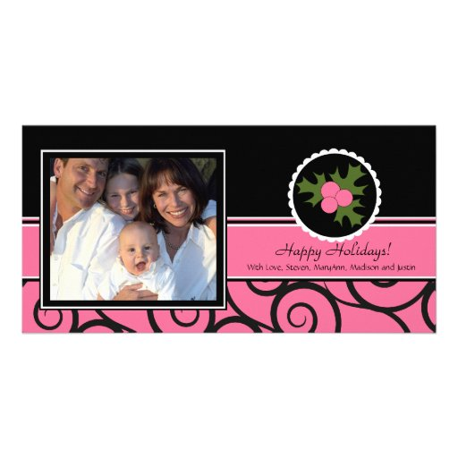 Happy Holidays Unique Pink & Black Holly Photo Card Template