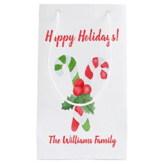 Happy Holidays! | Watercolor Candy Cane Christmas Small Gift Bag