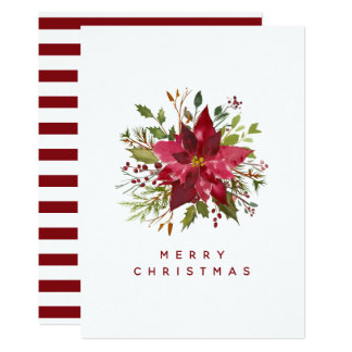 Happy Holidays | Watercolor Christmas Poinsettia Card