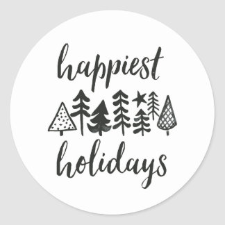 Happy Holidays Watercolor Christmas Trees Round Classic Round Sticker