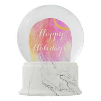 Happy Holidays Watercolor Snow Globes