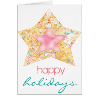 Happy Holidays watercolour card