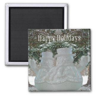 Happy Holidays Waving Snowmen Square Magnet