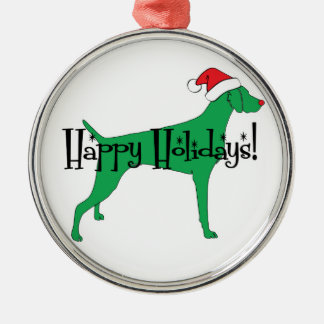 Happy Holidays Weimaraner Metal Ornament