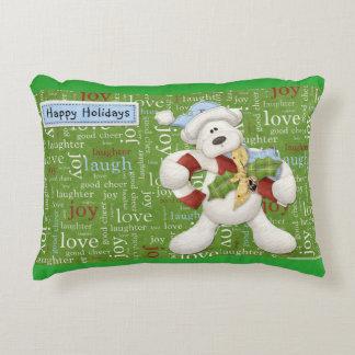 Happy Holidays White Dog Decorative Cushion
