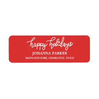 Happy Holidays White Handwritten Typography Red Return Address Label