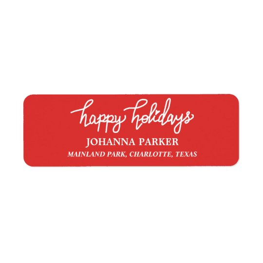 Happy Holidays White Handwritten Typography Red Return Address Label
