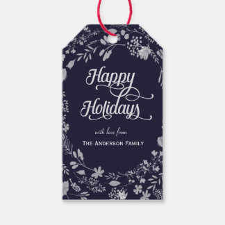 Happy Holidays white wreath gift tags