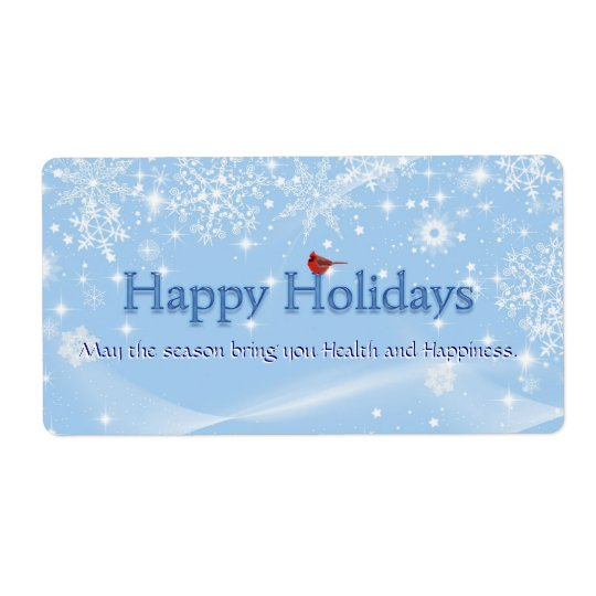 Happy Holidays Wine Label Shipping Label