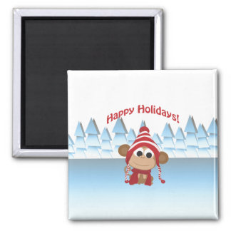 Happy Holidays! Winter Monkey Magnets
