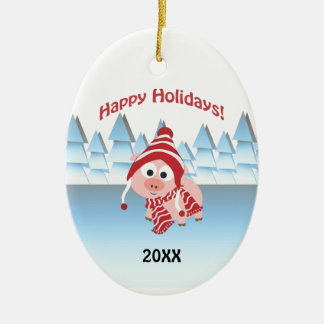 Happy Holidays! Winter Pig Ceramic Oval Decoration