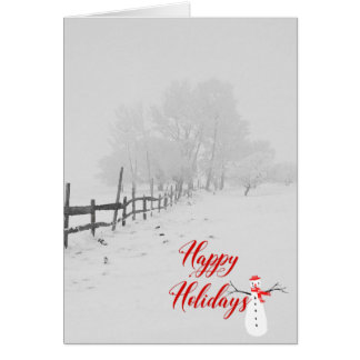 Happy Holidays-winter rural scene Card