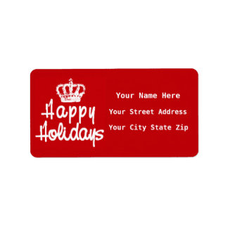 Happy Holidays with Crown Return Address Labels